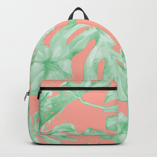 Tropical Palm Leaves Hibiscus Flowers Coral Green Backpack