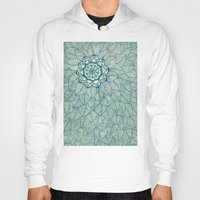 emerald Hoodies featuring Emerald Green, Navy & Cream Floral & Leaf doodle by micklyn