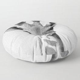 Baby Giraffe - Black & White Floor Pillow