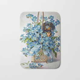 Dachshund and Forget-Me-Nots Bath Mat