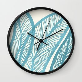 Blue Banana Leaf / Tropical Plants Wall Clock