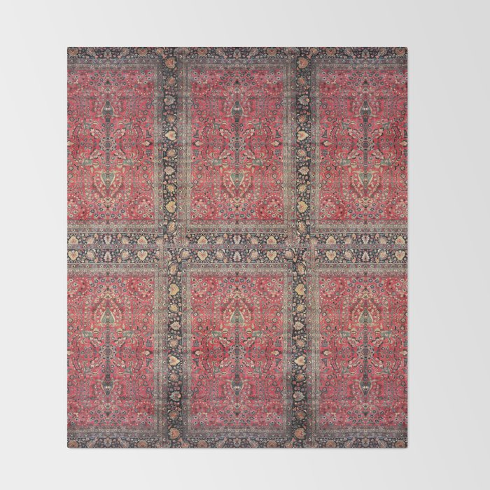 Antique Persian Red Rug Throw Blanket