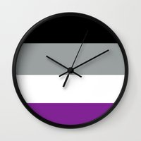 asexual Wall Clocks featuring Have some pride by marvelcomtits
