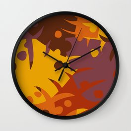 Colorful Graphic Autumn Leaves Wall Clock