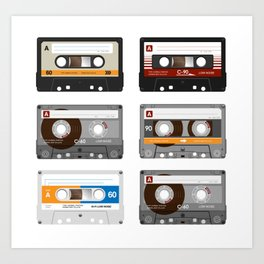 Old School Mixed Tapes Art Print
