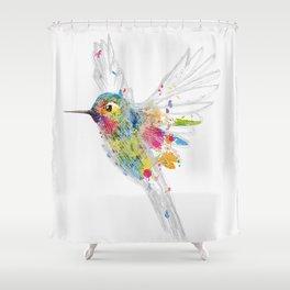 Hummingbird Watercolor Graffiti Shower Curtain