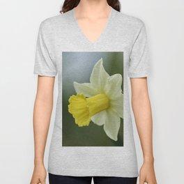 daffodils bloom in spring in the garden Unisex V-Neck