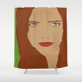 Red hair and Green eyes  Shower Curtain