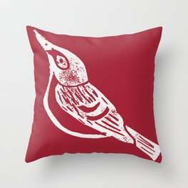 Black Capped Vireo - Hand Carved Stamp Throw Pillow