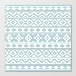 Aztec Essence Ptn IIIb Duck Egg Blue & White Canvas Print