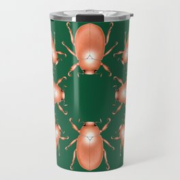 Copper Beetle on Green Background Travel Mug
