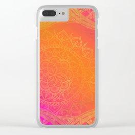 Fuchsia Pink Orange & Gold Indian Mandala Glam Clear iPhone Case