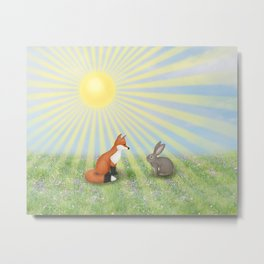 fox and bunny Metal Print