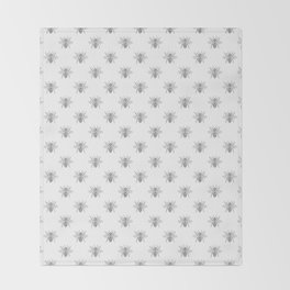 Vintage Honey Bees in Grey on White Throw Blanket