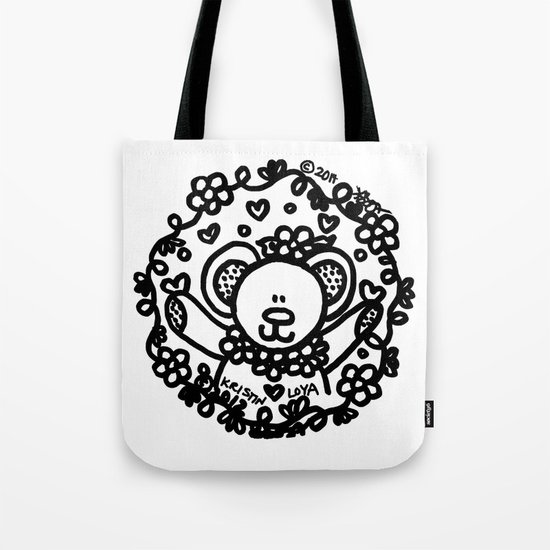 Floral Circle Bear! Tote Bag
