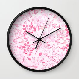 Hand painted hot pink watercolor modern floral Wall Clock