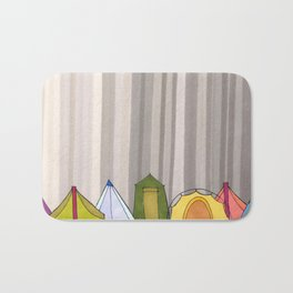 Stripes and Colorful Camping Tents 98 Bath Mat