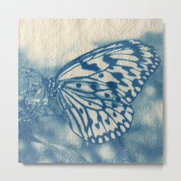 Cyanotype Butterfly Metal Print