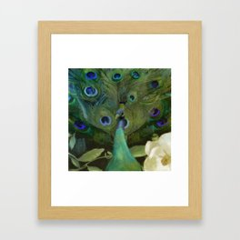 Peacock and Magnolia I Framed Art Print