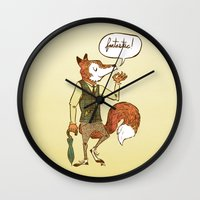 mr fox Wall Clocks featuring Mr. Fox by Drew Brockington