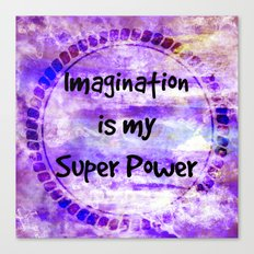 IMAGINATION IS MY SUPER POWER Inspirational Fine Art Painting Typography Lavender Purple Clouds Canvas Print