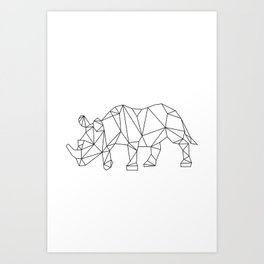 Geometric Rhino Design Art Print