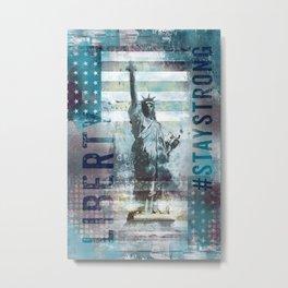 Lady Liberty NYC Mixed Media Art Metal Print