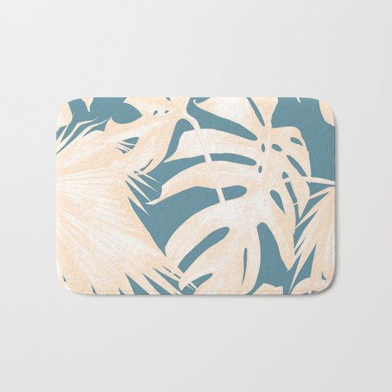 Palm Leaves Citrus on Deep Ocean Blue Bath Mat