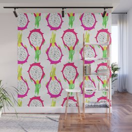 Dragonfruit Slices in Dotty White Wall Mural