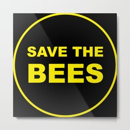 Save The Bees - Yellow and Black Metal Print