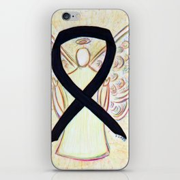 Black Awareness Ribbon Angel Art Painting iPhone Skin