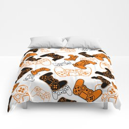 Video Games Orange on White Comforters