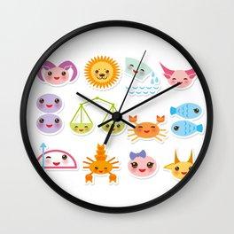 Funny Kawaii zodiac sign, astrological stiker virgo, aries, gemini, cancer, aquarius, taurus,  leo Wall Clock