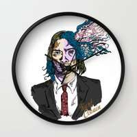 kurt cobain Wall Clocks featuring Kurt Gore Cobain by Alexalco5
