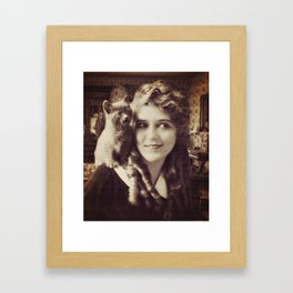 Mary Pickford - Vintage Lady with kitten Framed Art Print