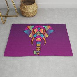Elephant | Geometric Colorful Low Poly Animal Set Rug