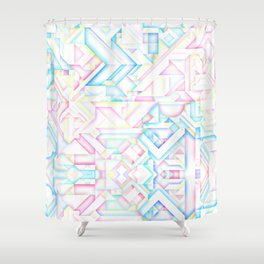 90s Inspired Print // GEOMETRIC PASTEL BRIGHT SHAPES PATTERN GRAPHIC DESIGN Shower Curtain