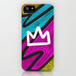 Colorful Crown Line Art iPhone Case