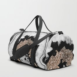Gray Black White Agate with Gold Glitter #1 #gem #decor #art #society6 Duffle Bag
