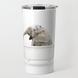 Baby Elephant in a Vintage Bathtub (c) Travel Mug