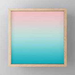 Pastel Ombre Millennial Pink Blue Teal Gradient Pattern Framed Mini Art Print