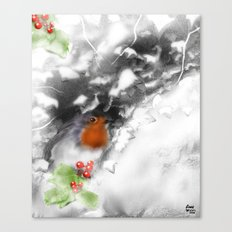 Traditional Christmas Illustration: Robin with Holly on Snow-covered Wall Canvas Print