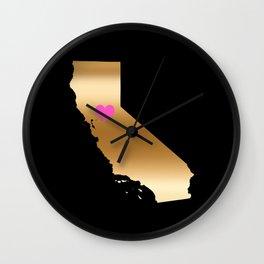 California Love on Black Background Wall Clock