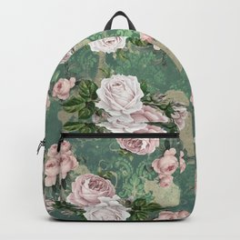 Shabby Rose Damask Pattern Backpack