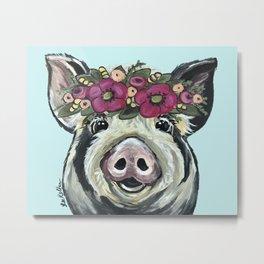 Cute Pig Art, Flower Crown Pig Art Metal Print