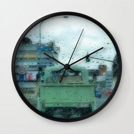 Rainy Days and Vintage Vehicles Wall Clock