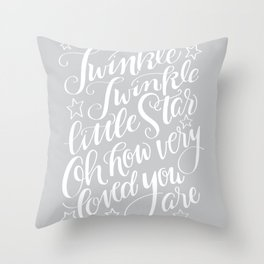 Twinkle Twinkle Litte Star Grey Throw Pillow