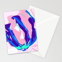 Rose With Blue Lining Abstract Design Stationery Cards