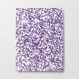 Small Spots - White and Dark Lavender Violet Metal Print