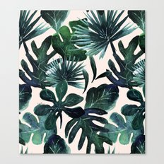 Tropical Leaves - Deep Sea and Blush Canvas Print